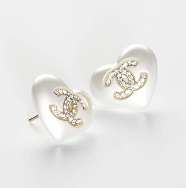 心型白色水晶耳環 $4,900