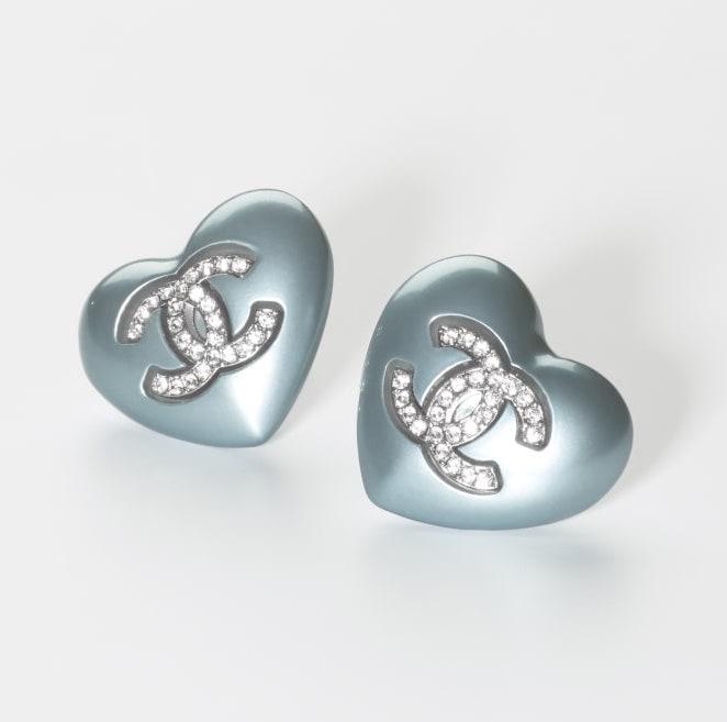 心型粉藍色水晶耳環 $4,900