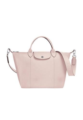 Longchamp Medium Le Pliage Cuir Tote Bag in Pale Pink