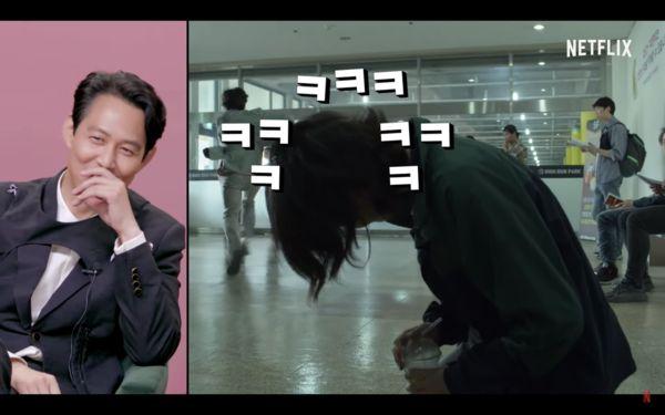 鄭浩妍看見李政宰在逃跑期間不忘幫插上飲管而忍不住偷笑